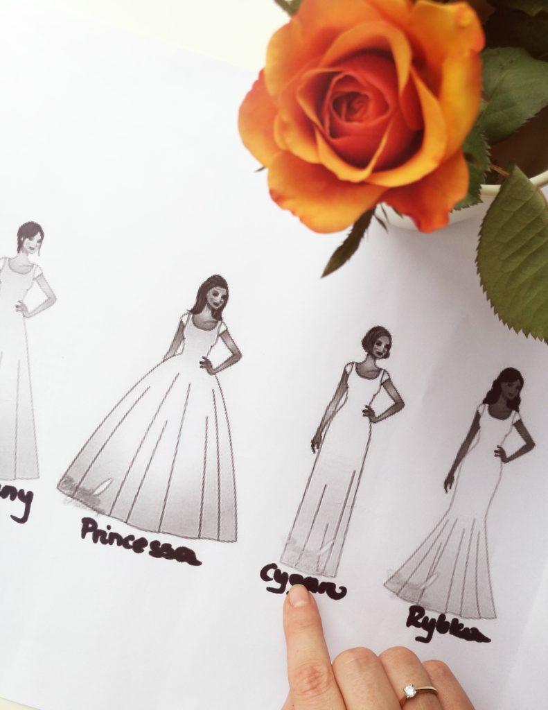 Suknia ślubna, model cygaro
